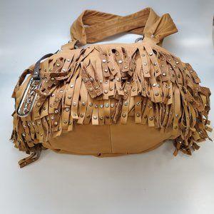 B. Makowsky Tan Leather Fringe Handbag NEW